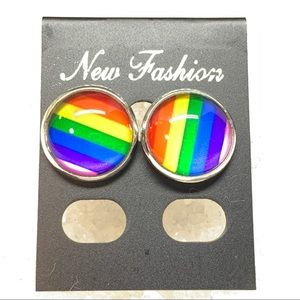 LGBT Rainbow Glass Cabochon Stud Earrings